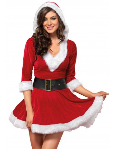 Vestito Christmas Natalizio con capuccio Mrs. Claus Hooded