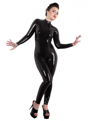 Catsuit in lattice nero con maniche lunge - LATE X