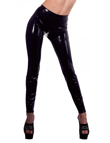 Leggings Donna in latex nero con foro sul cavallo - Late X