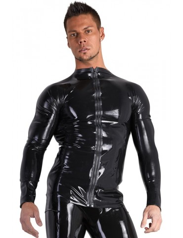 Latex Shirt con zip in latex nero - Late X