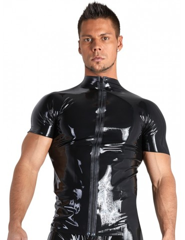 Tuta in latex nero con foro per pene - Late X